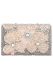 Beige Floral Clutch by Studio Accessories