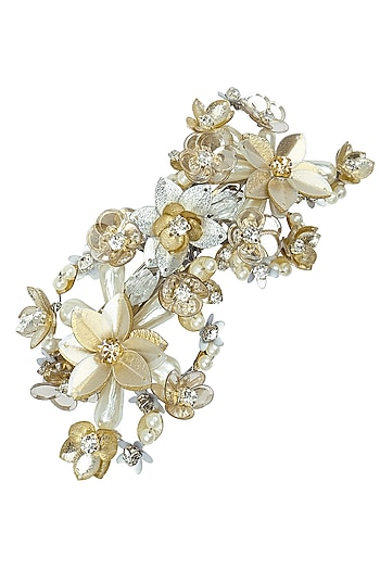 Gold and Silver Sequins and Crystal Embellished Hairclip by Studio Accessories