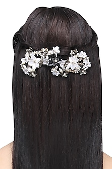 Black and White Sequins and Crystal Embellished Hairclip by Studio Accessories