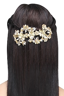 Gold Sequins and Crystal Embellished Hairclip by Studio Accessories