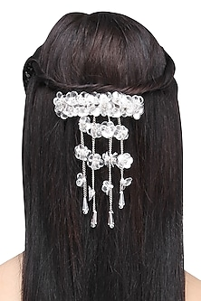 Silver Waterfall Sequins and Crystal Embellished Hairclip by Studio Accessories