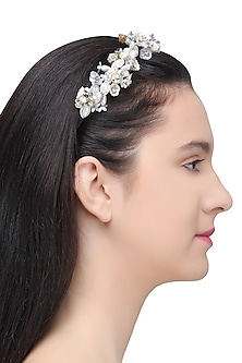 White and Silver Sequins and Crystal Embellished Hairband by Studio Accessories