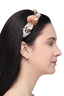 Orange and Peach Sequins and Crystal Embellished Hairband by Studio Accessories