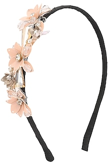 Peach Sequins and Crystal Embellished Hairband by Studio Accessories