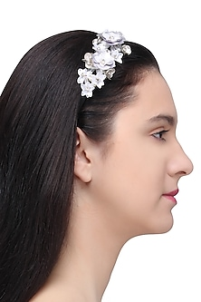 White Sequins and Crystal Embellished Hairband by Studio Accessories