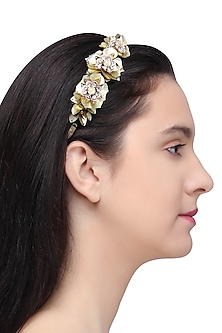 Gold Sequins and Crystal Embellished Hairband by Studio Accessories