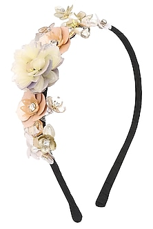 White and Orange Sequins and Crystal Embellished Hairband by Studio Accessories