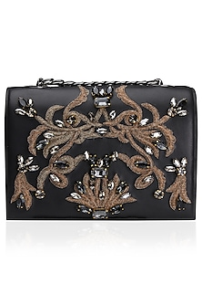 Black and Gold Flowery Wreath Design Clutch Bag by Studio Accessories