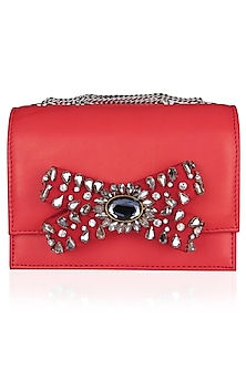 Red Stone Embellished Bow Clutch Bag by Studio Accessories