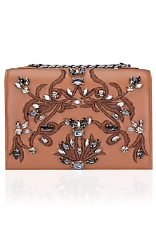 Tan Stone Flowery Design Clutch Bag by Studio Accessories