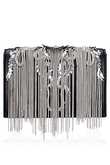 Black and Silver Flowery Desisgn Clutch Bag by Studio Accessories