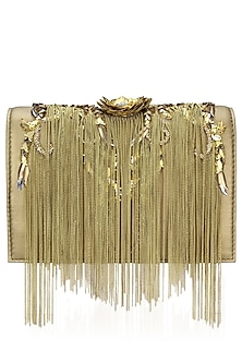 Gold Flowery Design Chain Hanging Clutch Bag by Studio Accessories