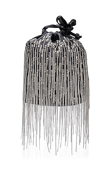 Black Sequins and Pearl Embellished Potli Bag by Studio Accessories