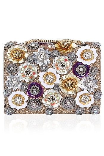 Multicolor Sequins Flowers Grey Clutch Bag by Studio Accessories