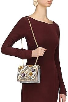 Multicolor Sequins Flowers Grey Clutch Bag by Studio Accessories