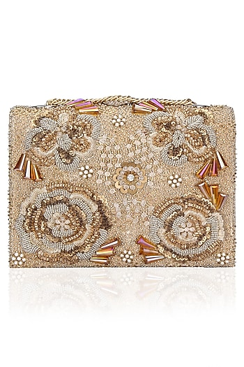 Gold Flower Motifs Clutch Bag by Studio Accessories