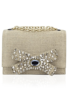 Beige Stone Embellished Bow Linen Clutch Bag by Studio Accessories