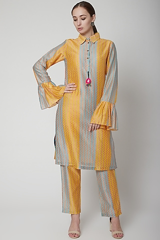 Yellow Chanderi Cotton Kurta by Anupamaa Dayal
