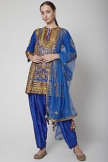 Electric Blue Crepe Silk Tunic by Anupamaa Dayal