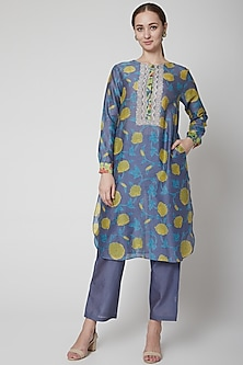 Blue Chanderi Cotton Kurta by Anupamaa Dayal