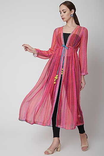 Pink Chiffon Silk Tunic by Anupamaa Dayal