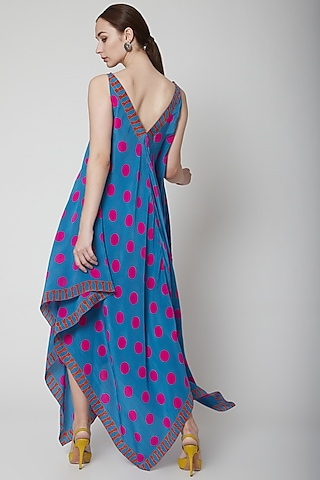 Blue Crepe Silk Scarf Dress by Anupamaa Dayal