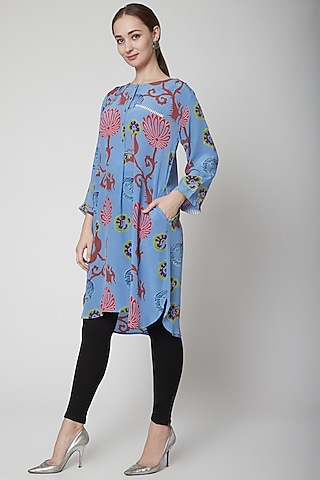 Sky Blue Crepe Silk Tunic by Anupamaa Dayal