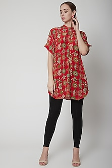 Red Crepe Silk Tunic by Anupamaa Dayal
