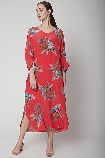 Salmon Pink Crepe Silk Dress by Anupamaa Dayal