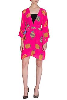 Fluro Pink Printed Wrap Dress by Anupamaa Dayal