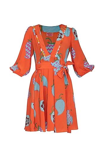 Orange Printed Mini Dress by Anupamaa Dayal