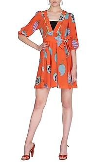 Orange Printed Mini Dress by Anupamaa Dayal