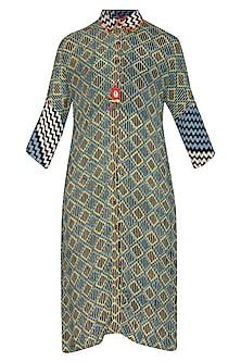 Blue & Yellow Printed Shirt Dress by Anupamaa Dayal