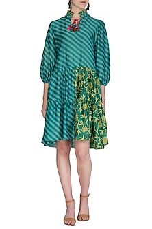 Teal Green Printed Gathered Dress by Anupamaa Dayal