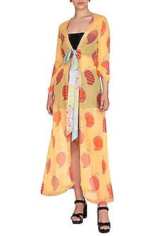 Yellow Printed Jacket With Tie-Up Belt by Anupamaa Dayal