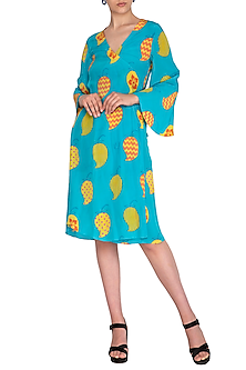 Blue Printed Wrap Dress With Belt by Anupamaa Dayal