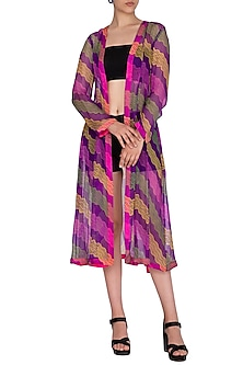 Violet Printed Tie-Up Jacket by Anupamaa Dayal