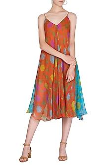 Orange Printed Strappy Dress by Anupamaa Dayal