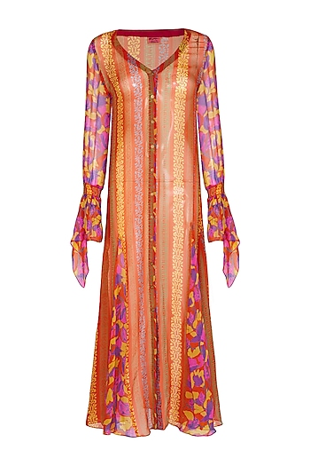 Orange Printed Front Open Dress by Anupamaa Dayal