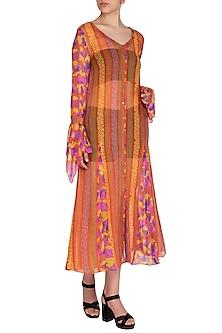 Orange Printed Front Open Dress by Anupamaa Dayal