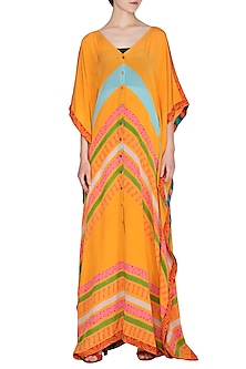 Orange Front Open Kaftan by Anupamaa Dayal
