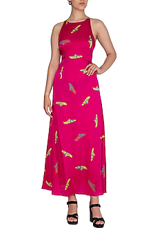 Pink Printed Strappy Maxi Dress by Anupamaa Dayal