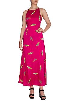 Pink Printed Strappy Maxi Dress by Anupamaa Dayal