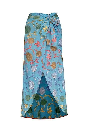 Blue Printed Petal Cut Skirt by Anupamaa Dayal