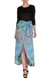 Blue Printed Petal Cut Skirt by Anupamaa Dayal