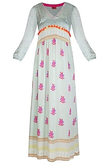 Mint Blue Printed Maxi Dress by Anupamaa Dayal
