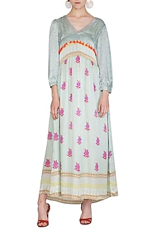 Mint Blue Printed Maxi Dress by Anupamaa Dayal