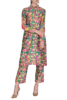 Dark Green Printed Collared Kurta With Pants by Anupamaa Dayal