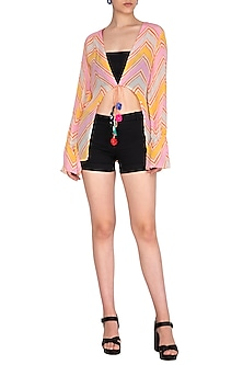 Baby Pink & Orange Printed Top by Anupamaa Dayal