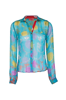 Turquoise Blue Printed Shirt by Anupamaa Dayal